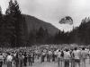 A parachuter lands